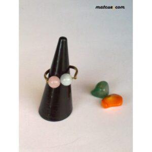 anillo artesanal cuarzo rosa